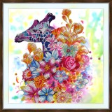 Bead embroidery kit «A-0401 Giraffe Encircled with Flowers»