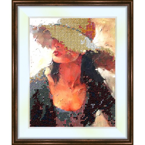 Bead embroidery kit «K-0079 The Lady in the Hat»