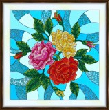 Bead embroidery kit «K-0200 Stained Glass Roses 2»
