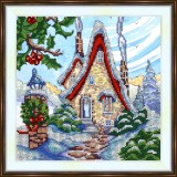 Bead embroidery kit «K-0210 Stone Cottage in Winter»
