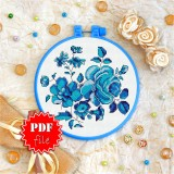 Cross stitch pattern «pdf-T-0100 Blue Flowers»