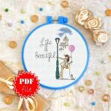 Cross stitch pattern «pdf-T-0120 Life is Beautiful»