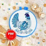 Cross stitch pattern «pdf-T-0130 Blue Feathered Hen»
