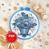 Cross stitch pattern «pdf-T-0140 Blue Basket of Flowers»