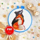 Cross stitch pattern «pdf-T-0150 Wolf and Fox»