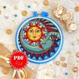 Cross stitch pattern «pdf-T-0172 Sun and Moon»