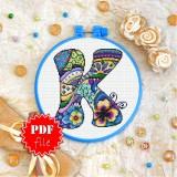 Cross stitch pattern «pdf-T-0193 Letter K»