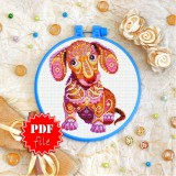 Cross stitch pattern «pdf-T-0203 Mandala Dachshund»