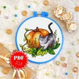 Cross stitch pattern «pdf-T-0226 Black Cat and Pumpkin»