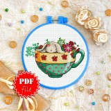 Cross stitch pattern «pdf-T-0238 Bunny in a Cup»