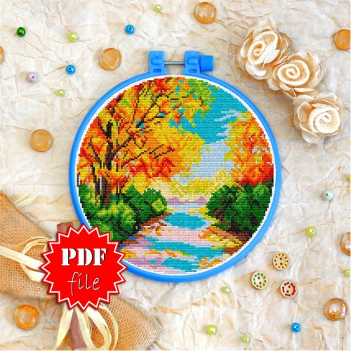 Cross stitch pattern «pdf-T-0258 Autumn Landscape»