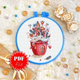 Cross stitch pattern «pdf-T-0293 House in a Cup»
