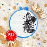 Cross stitch pattern «pdf-T-0328 Curious Black Cat»