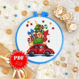 Cross stitch pattern «pdf-T-0338 Xmas Car»