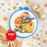 Cross stitch pattern «pdf-T-0346 Christmas Birdie»
