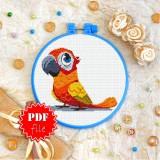 Cross stitch pattern «pdf-T-0361 Orange Parrot»