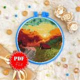 Cross stitch pattern «pdf-T-0399 Orange Evening»