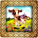 Magnet bead embroidery kit «M-0028 Calf in the Field»