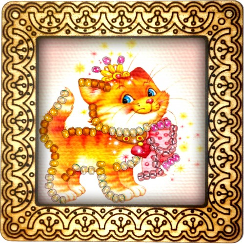 Magnet bead embroidery kit «M-0038 Smiling Ginger Kitty»