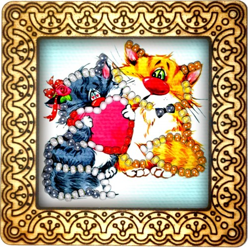 Magnet bead embroidery kit «M-0048 Kitties with Heart»