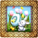 Magnet bead embroidery kit «M-0078 Easter Egg in the Tulips»
