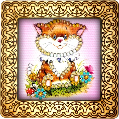 Magnet bead embroidery kit «M-0088 Floopy Eared Kitty»