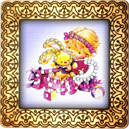 Magnet bead embroidery kit «M-0118 Holding Her Bunny»