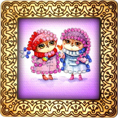 Magnet bead embroidery kit «M-0138 Owl Girlfriends»