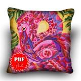Pillow Cross stitch pattern «pdf-H-0011 Flashy Flamingo»