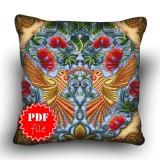 Pillow Cross stitch pattern «pdf-H-0021 Lovely Lovebirds»