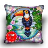 Pillow Cross stitch pattern «pdf-H-0031 Tantalizing Toucan»
