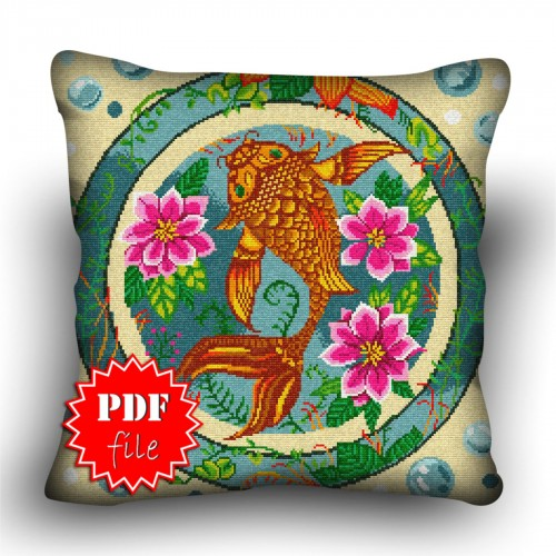 Pillow Cross stitch pattern «pdf-H-0041 Charmed Catfish»