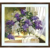 Bead embroidery kit «A-0171 Lilacs by the Curtain»