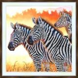 Bead embroidery kit «A-0282 Zebras on the Grassland»