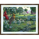 Bead embroidery kit «K-0010 Cardinals in the Garden»