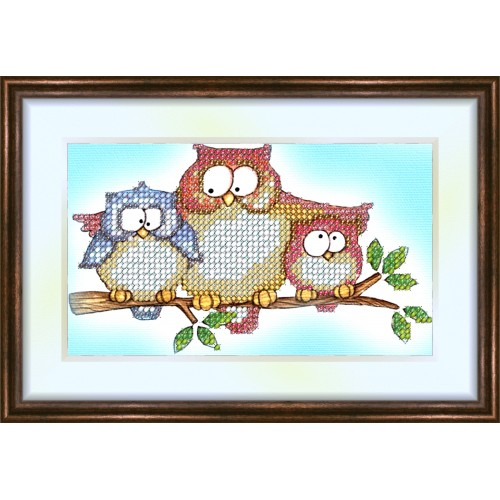 Bead embroidery kit «K-0030 Mom's Owl Lesson»
