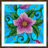 Bead embroidery kit «K-0201 Stained Glass Pink Morning Glory»