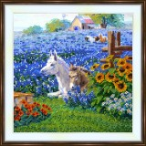 Bead embroidery kit «K-0211 Horses in the Lavendar Field»