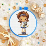 Cross stitch kit «T-0046 Little Girl with Chamomile»