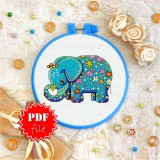 Cross stitch pattern «pdf-T-0001 Flowered Blue Elephant»