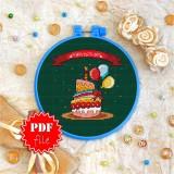 Cross stitch pattern «pdf-T-0051 Happy Birhday Cake»
