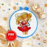 Cross stitch pattern «pdf-T-0081 Red Dress 'n Blue Pearls»