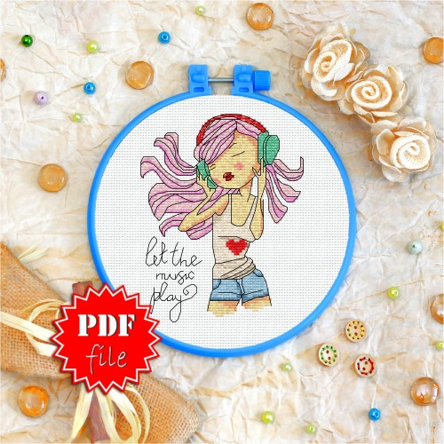 Cross stitch pattern «pdf-T-0111 Let the Music Play»