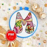 Cross stitch pattern «pdf-T-0194 Letter M»