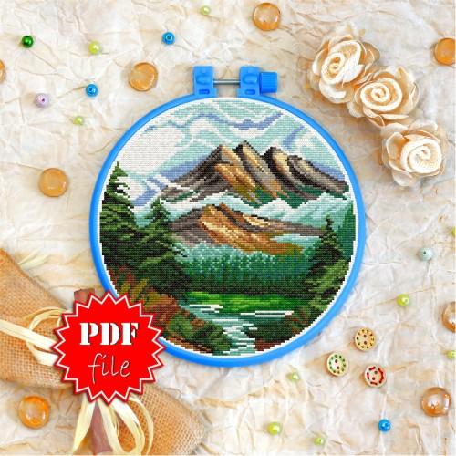 Cross stitch pattern «pdf-T-0260 Mountain Landscape»