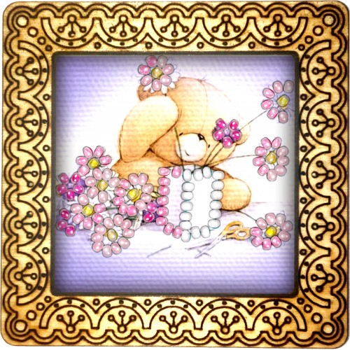 Magnet bead embroidery kit «M-0009 Teddy Bear with Chamomile»
