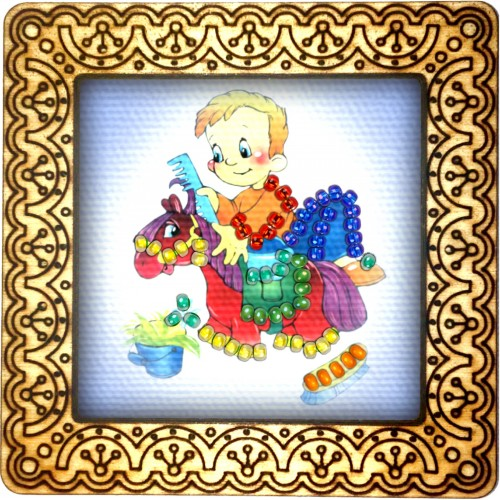 Magnet bead embroidery kit «M-0019 Riding the Horse»