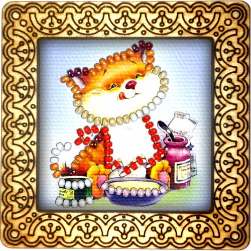 Magnet bead embroidery kit «M-0029 Kitty Snack Time»