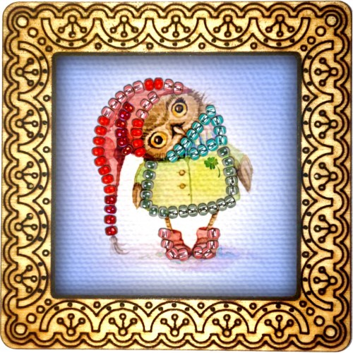 Magnet bead embroidery kit «M-0059 Owlet in a Red Stocking Cap»