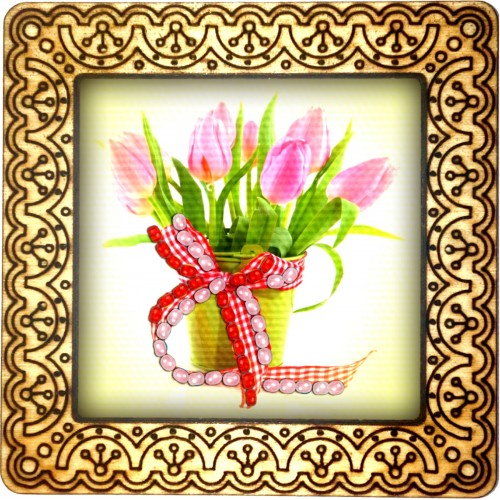 Magnet bead embroidery kit «M-0069 Tulips with a Red Bow»